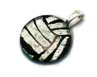 Volleyball Necklace, Water Polo Ball Necklace, Volleyball Jewelry, Water Polo Jewelry, Dichroic Glass Jewelry, Athlete Gift, Silver Ball