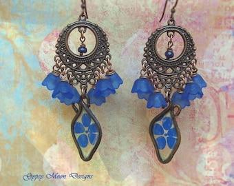 Blue chandelier earrings flowers paper copper cruise Bohemian jewelry