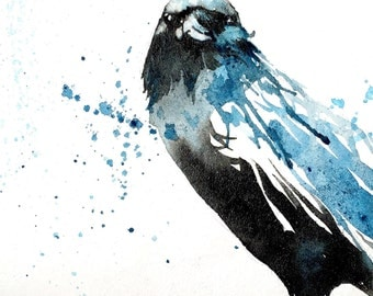 Crow no.2 ORIGINAL bird watercolour painting