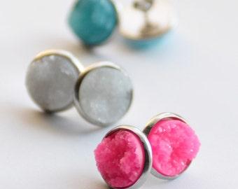 Cute Druzy Stud Earrings, 1 Pair of Resin Druzy Studs, Stainless Steel Studs, Tropical Pink Druzy, Arctic Blue Druzy, Moon White Faux Druzy