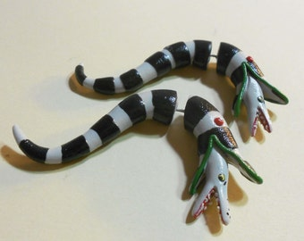 Beetlejuice Sandworm fake gauge earrings Faux gauges Fakers Stretched ears gauge polymer clay