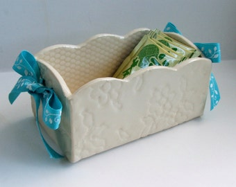Ceramic Slab Built, Handmade ceramic box, Lacy White