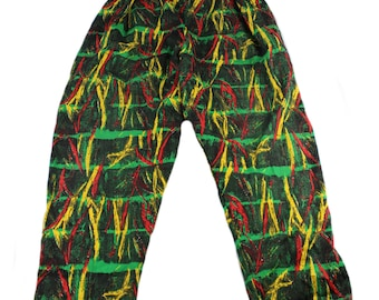 Vintage 1990s 90s Black/Red/Green/Yellow Rasta Pants Mens Streetwear Size M/L