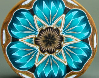 LARGE Teal Polymer Clay Flower Cane (49aa)
