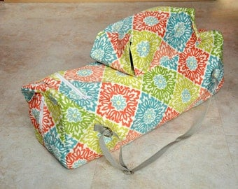 Large yoga mat bag, beautiful great quality yoga mat carrier, white, green, blue, and coral yoga tote bag, zippered yoga bag with pockets