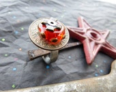 Red Lampwork Glass and Stainless Steel Riveted Ring with an Old Coin