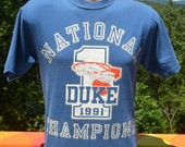 vintage 90s t-shirt DUKE university basketball 1991 national champions tee Medium 91