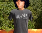 70s vintage t-shirt FITZBILLIES cambridge soft thin black tee shirt Medium 80s england