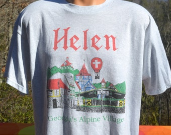 vintage 90s tee shirt HELEN georgia alpine village hot air balloon t-shirt XL travel 80s