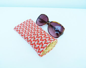 Glasses case, orange snail fabric, cotton case