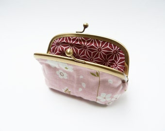 Coin purse, pink Japanese blossom fabric, cotton purse