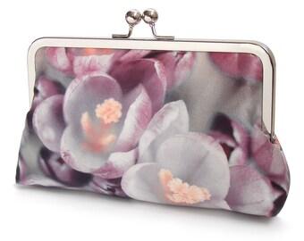 Clutch bag, crocus flower silk purse, bloom, pink petals, mauve, purple, wedding purse, flower clutch, bridesmaid gift