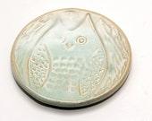 SALE•Handmade Ceramic Spoon Rests - Tea Light Holder - Tea Bag Holder - Ring Dish - Soap Dish - Soft Green - Awake Horned Owl