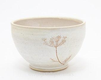 Made to Order Stoneware Bowl - Salad Bowl - Pasta Bowl - Pottery Bowl - Cereal Bowl - Soup Bowl - Botanical Bowl - Dill or Dandelion