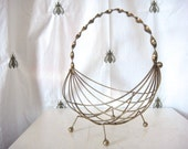 ON SALE! Vintage Mid Century Ball Footed Metal Wire Fruit Bowl, Basket