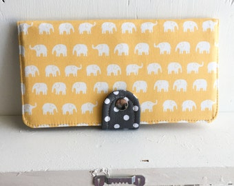 BiFold Wallet Clutch - Handmade Wallet - Vegan Wallet / Kawaii Elephant in Yellow -- Ready to Ship