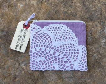 lilac lace, purple change purse with vintage doily