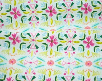 Floral Stripe Aqua from Blush & Blooms by Iza Pearl Design - fabric by the yard
