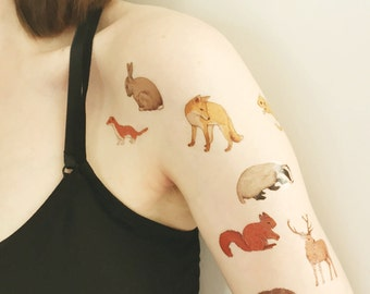 woodland animal temporary tattoos - fox , badger , rabbit , deer , hedgehog , squirrel , stoat , dormouse - fake tattoo