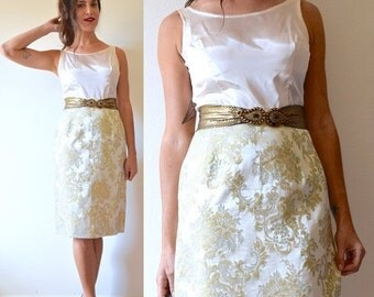 SUMMER SALE / 20% off Vintage 50s 60s Silk Brocade and Satin Scoop Back Wiggle Dress (size small, medium)