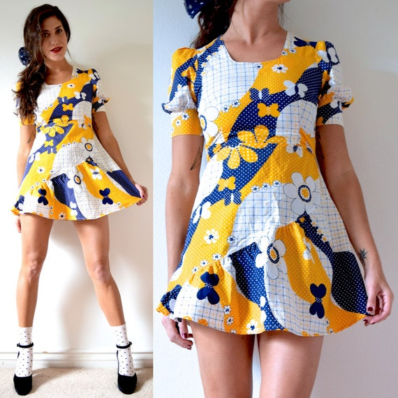 SPRING SALE/ 20% off Vintage 60s 70s Yellow and Navy Blue Flower Power Patchwork Print Mini Dress (size xs, small)