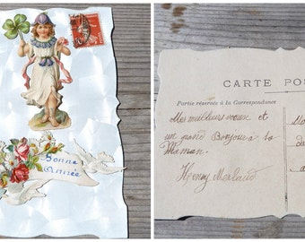 Vintage Antique 1900 French fancy postcard adorned with  die cut embossed chromolitograph  Bonne Année