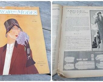 Vintage January 1929 French Issue magazine  MIROIR Des Modes  fashion paper ephemera advertisment