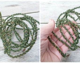 Antique French 1900/1950 Handmade 2 tons of sheer green beaded cable/wire/canetille de perles /timeworn/3 yards