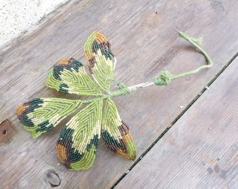 Vintage Antique 1900/1920 French   sheer green glass & mustard glass beads/ beaded leaves /French beadwork