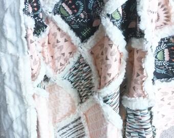 Woodland Crib Quilt - Baby Girl Quilt - Woodland Nursery - Modern Baby Quilt - Arrow Quilt - Arrow Bedding - Pink Brown Quilt - Crib Blanket