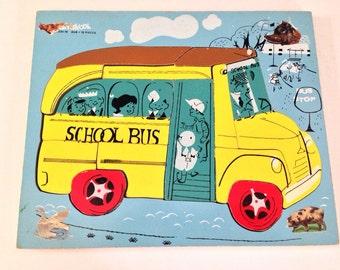 Vintage 60s Wood Playskool School Bus Puzzle 330-18