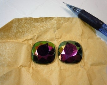 23mm faceted square, flat back