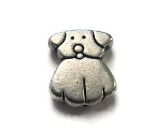 Dog charm puppy charm bead silver dog charm qty 10