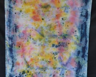 Naturally Dyed Eco Print Silk Scarf with Indigo