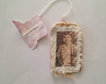 Tea Bag Art - stitched girl