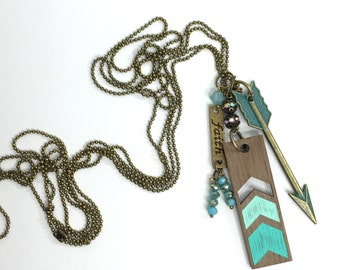 DeBella Essential Oil diffuser wood charm necklace with chevron design & beaded charms in teal/turquoise