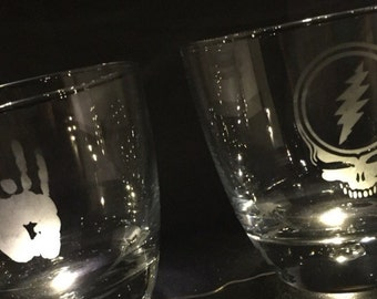 Grateful Dead Etched Rock Glasses for Whiskey or Scotch