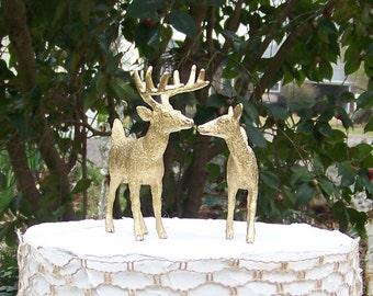 Deer Cake Topper, Animal Wedding Cake Topper, Gold Deer Cake Topper,Hunting-Woodland-Forest Animal-