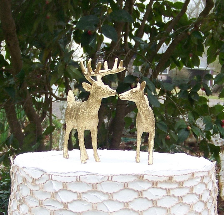 Deer Cake Topper Animal Wedding Cake Topper Gold Deer Cake
