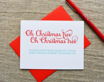 Letterpress Holiday Card - Oh Christmas Tree - NQH-167