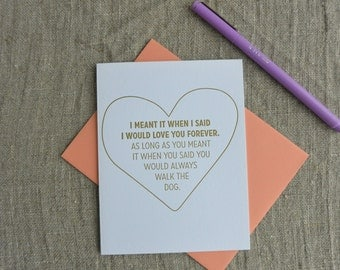 Letterpress Greeting Card - Love Card - Love You Forever - Walk the Dog - LVF-120