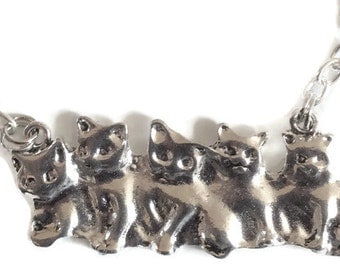 Kittens cats sitting in a row  necklace chain 46cm