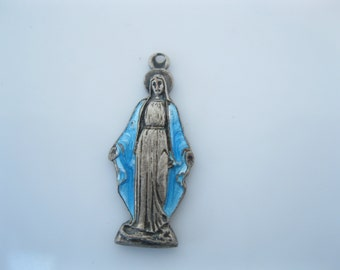 Antique holy mary enamel medal
