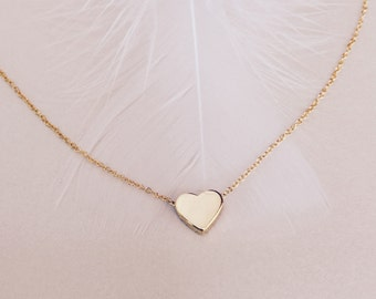 Gold Heart Necklace Dainty Minimal Heart Necklace Charm Will You Be My Bridesmaid Gift Idea Mothers Necklace Girlfriend Gift