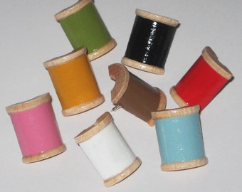 Hand Painted Wooden Spool Push Pins for Bulletin Board