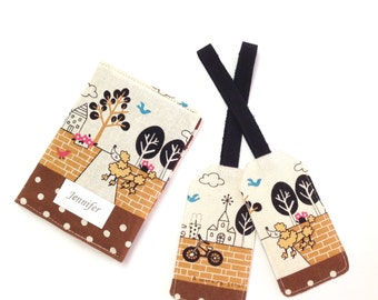 Personalized Passport Cover Sleeve, Luggage Tags, Gift Idea, Travel Case, Dog walk