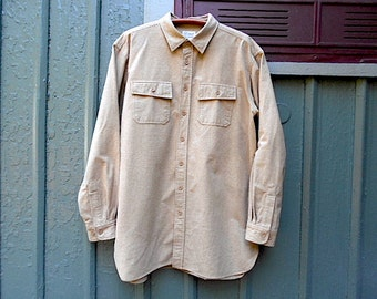 Sale LL BEAN Chamois shirt, men XL Tall - tan toast, thick flannel moleskin