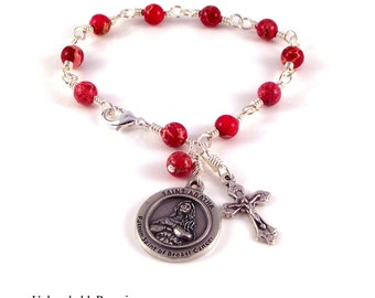 Saint Agatha Rosary Bracelet In Pink Imperial Jasper Patron of Cancer Patients and Survivors