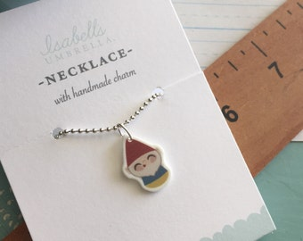 Tiny Gnome Charm Necklace : Stocking Stuffer, Gifts Under 10,