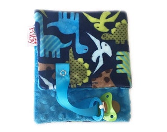 SALE---Dino Minky Binky Blanket (blue minky on thr back is slighty different than pictured)